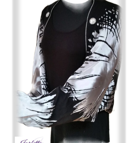 Jacket Scarf Silk Black Silver Burnout