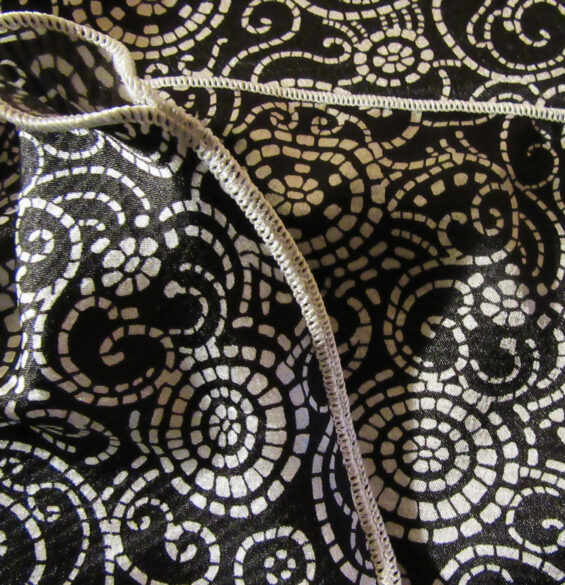 Wheel Swirls-Black/White-Silky Polyester