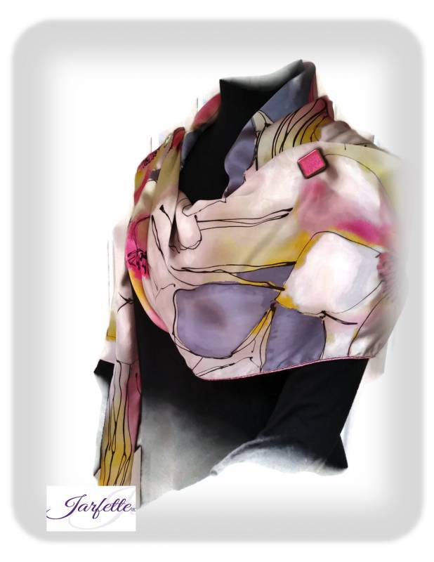 Floral pink/black/yellow/gray silk Jarfette jacket scarf – Pink metallic edging- Limited Edition – Medium
